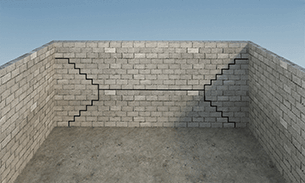 Inward Wall Horizontal Cracks