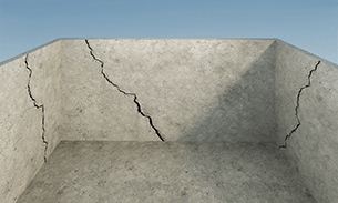 Vertical Wider at Bottom Cracks